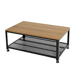 Vlush Industrial Coffee Table with Storage Shelf, Rustic Cocktail Sofa Table with Wooden Top and ...
