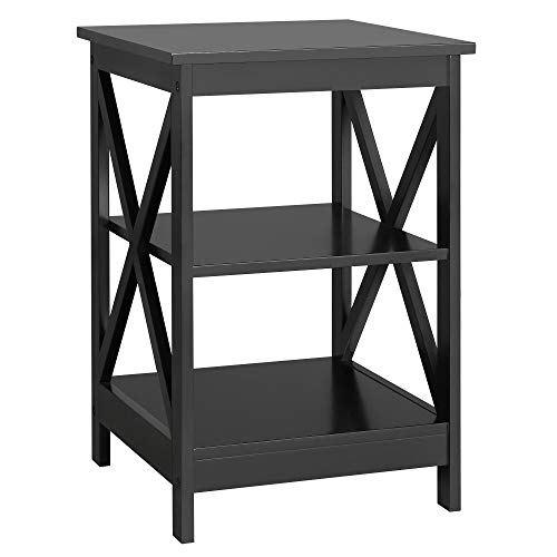 Yaheetech 3 Tier Sofa Side End Table with Shelf, X Shape Chair Side Coffee Snack Table for Livin ...