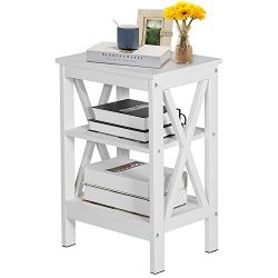 VECELO Modern Nightstands,Side/End/Coffee/Accent Table Storage Shelf X-Design Versatile Night St ...