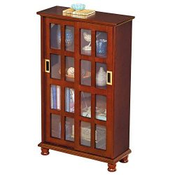 Collections Etc Versatile Wood Sliding Door Media Display Cabinet Provides Plenty of Extra Stora ...