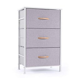 ROMOON Nightstand Chest with 3 Fabric Drawers, Bedside Furniture, Lightweight Accent Table, Stor ...