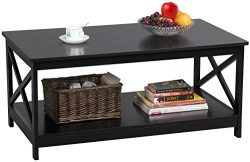 Yaheetech 39.4×21.5×17.7 Inches Wood 2-Tier Coffee Table with Storage Shelf for Living ...