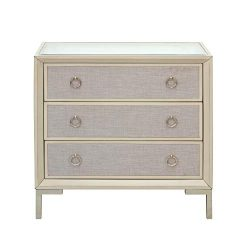 Pulaski Three Drawer Mirror Top Accent Chest in Linen and Cream