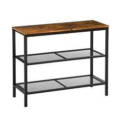 KICODE Console Table Sofa Table Entryway Industrial Side Table with 2 Iron Mesh Storage Shelves  ...