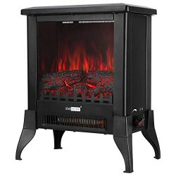 VIVOHOME 17 Inch Height Freestanding Electric Fireplace Stove Heater with Realistic 3D Dancing F ...
