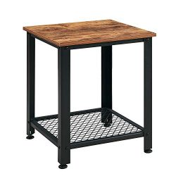 VINEXT Nightstand, Rustic End Table for Living Room, Bedroom, Side Table with 2-TierStorage Shel ...