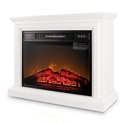 Belleze 3D Infrared Electric Fireplace Stove 31inch With Remote Control (White) Portable Indoor  ...