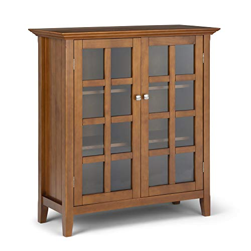 Simpli Home Acadian Solid Wood 39 inch Wide Rustic Medium Storage Cabinet in Light Golden Brown