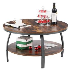 GreenForest Round Coffee Table 35.4 inch Large Size Industrial Design for Living Room with Stora ...