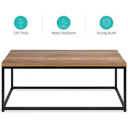Best Choice Products 44in Modern Industrial Style Rectangular Wood Grain Top Coffee Table, Accen ...
