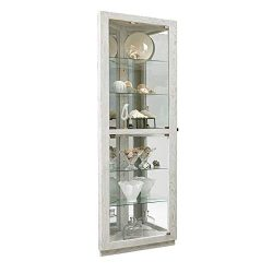 PRI Home Fare Dual Door 5 Shelf Corner Curio Cabinet in Antique White