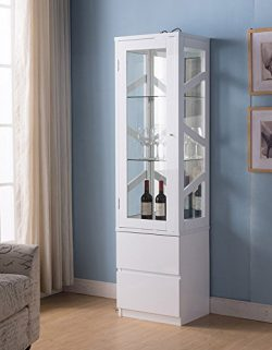 Smart Home 161472 Wine Bar Attwell Edition Curio Display, Glossy White