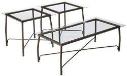 Signature Design by Ashley – Burmesque Contemporary Occasional Glass Top Table Set – ...