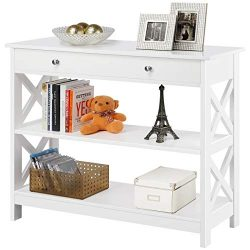 Yaheetech 3 Tier Sofa and Console Tables with Storage Shelf & Drawers – X Design Books ...