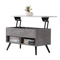 9 Plus Lift Top Wood Coffee Table, Sofa Tea Table with Storage for Living Room Grey