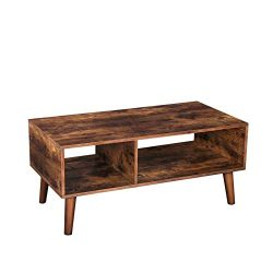 HOOBRO Coffee Table, Accent Cocktail Table with Storage Shelf for Living Room, Mid-Century Moder ...