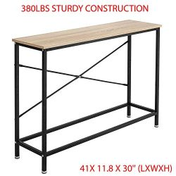 380Lbs Sturdy Construction & Easy to Assemble Wood Console Table Modern Sofa Accent with She ...