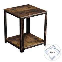 Rolanstar Rustic End Table, 2-Tier Side Table with Corner Protectors, Retro Metal Frame and Stor ...