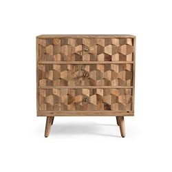 Poppy Mid-Century Modern Mango Wood 3 Drawer Chest, Natural