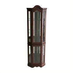 BOWERY HILL Mahogany Lighted Corner Curio Cabinet