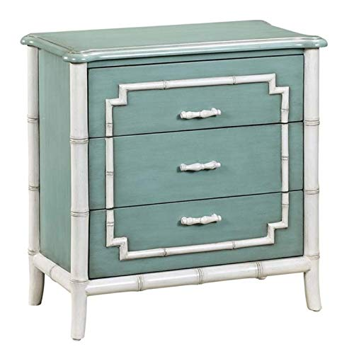 Pemberly Row 3 Drawer Faux Bamboo Trim Accent Chest in Blue