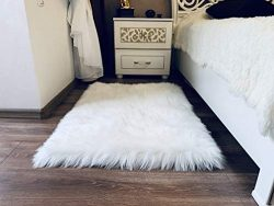 MRDANVAL Premium White Fur Rug for Bedroom – Soft Faux Sheepskin Rug for Living Room ̵ ...