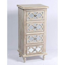 Pemberly Row Mika 4 Drawer Mirrored Accent Chest