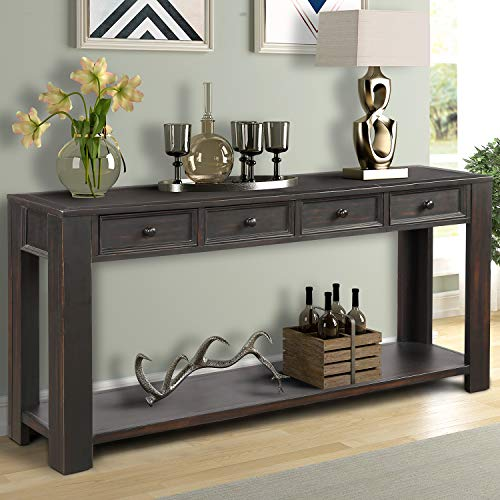 P PURLOVE Console Table for Entryway Hallway Easy Assembly 64″ Long Sofa Table with Drawer ...