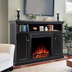 JAMFLY Electric Fireplace TV Stand Wood Mantel for TV Up to 55″, Media Entertainment Cente ...