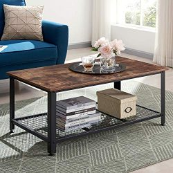 VINEXT Industrial Coffee Table with Storage Shelf, Vintage Wooden Board with Stable Metal Frame, ...