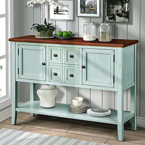 Wood Console Sofa Table with Storage Drawers and Bottom Shelf, WeYoung Console Tables for Entryw ...