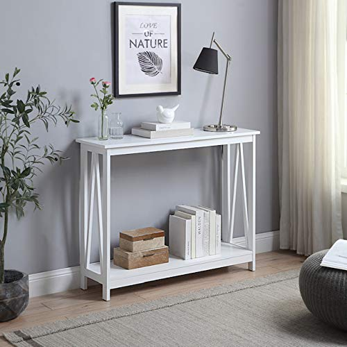 eHomeProducts White Finish 3-Tier A-Design Occasional Console Sofa Table Bookshelf