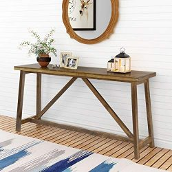 Tribesigns Solid Wood Console Table, 59 Inch Extra Long Entry Table, Sofa Table for Living Room, ...