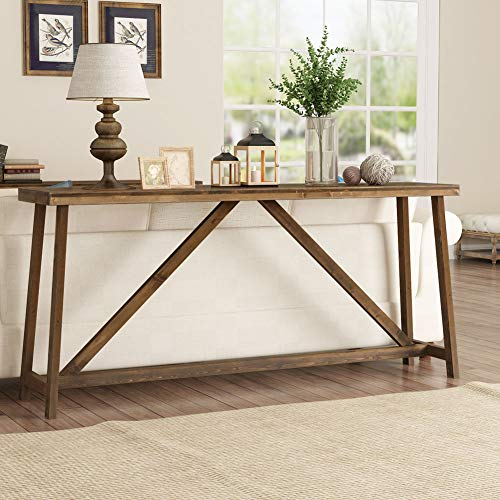 Tribesigns 70.9 Inches Extra Long Sofa Table, Solid Wood Behind Couch Table, Rustic Console Tabl ...