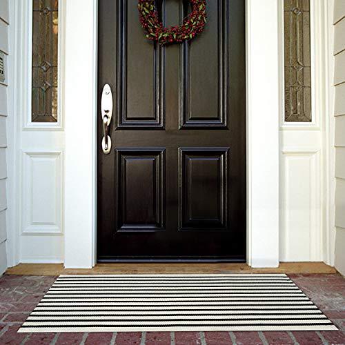 Cotton Area Rug 2′ x 4.3′, KIMODE Woven Black Stripe Doormat Machine Washable Floor  ...
