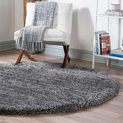 Infinity Collection Solid Shag Round Rug by Rugs.com – Smoke 7′ x 7′ High-Pile ...