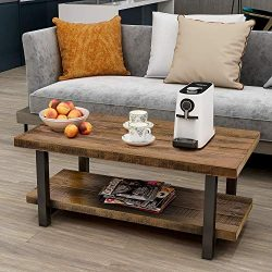 P PURLOVE Coffee Table Rustic Style Solid Wood+MDF and Iron Frame Rectangle Coffee Table for Liv ...