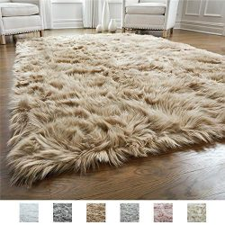 Gorilla Grip Original Premium Faux Fur Area Rug, Soft Living Room Area Rug, 5 FT x 7 FT, Bedroom ...