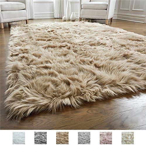 Gorilla Grip Original Premium Faux Fur Area Rug, Soft Living Room Area Rug, 5 FT x 7 FT, Bedroom ...