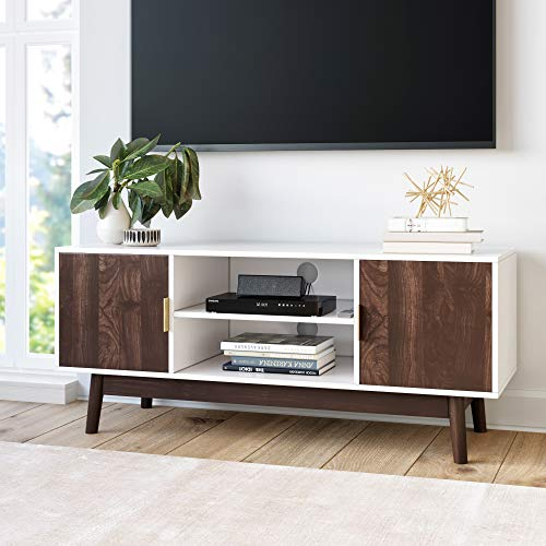 Nathan James Wesley Scandinavian TV Stand Media Console with Wooden Frame and Cabinet Doors, Whi ...