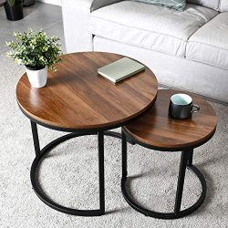 amzdeal Coffee Table for Living Room, Set of 2 Nesting Side Coffee Tables, Stable and Easy Assem ...