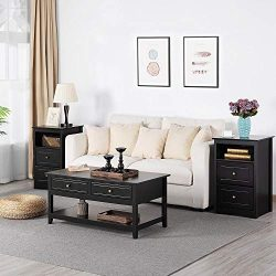 Yaheetech 3-Piece Occasional Table Set – Include Coffee Table and 2 Sofa Side End Tables w ...