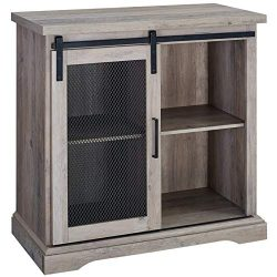 Walker Edison 32″ Farmhouse Mesh Door Wood Accent Chest in Gray Wash