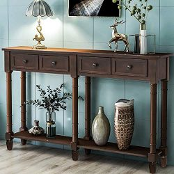 Retro Console Table Sofa Table for Entryway with Drawers and Shelf Living Room Table (Dark Espresso)