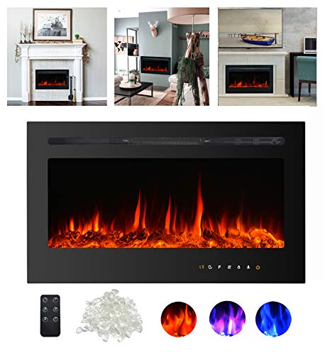 Kullavik 36″ Recessed Electric Fireplace, Remote Control with Timer,Touch Screen Heater, L ...