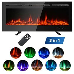 MAXXPRIME 50″ Electric Fireplace Insert, Wall Mount, Freestanding & in Wall Recessed F ...