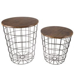Lavish Home 80-ENDTBL-2 (Set of 2) Nesting End Storage Convertible Round Metal Basket Wood Venee ...