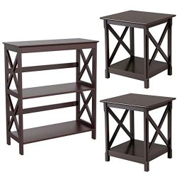 Yaheetech 3-Piece Table Set – Include Console Table and 2 End Side Sofa Tables X Design wi ...