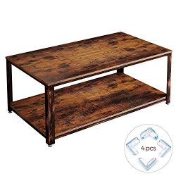 Rolanstar Rustic Coffee Table with Corner Protectors, Storage Organizer Shelves and Retro Metal  ...
