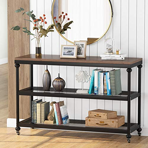 Tribesigns 3-Tier Console Table, 47 Inch Industrial Hallway Entryway Table with Mesh Storage She ...